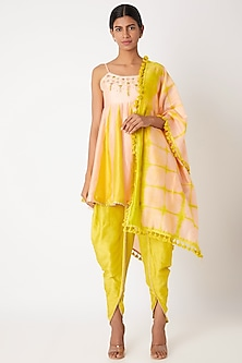 Peach & Lime Green Embroidered Tie-Dye Kurta Set by Leela By A