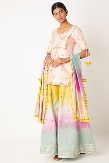 Blush Pink Embroidered Tie-Dye Sharara Set by Leela By A