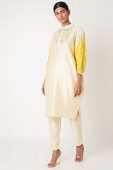 Ivory & Yellow Embroidered Tie-Dye Kurta With Pants by Leela By A