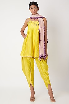 Lemon Yellow & Lime Green Embroidered Dhoti Set by Leela By A
