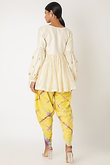 Ivory & Yellow Embroidered Tie-Dye Kurta Set by Leela By A