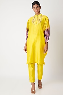 Yellow Embroidered Tie-Dye Kurta With Pants by Leela By A