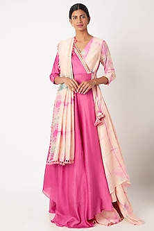 Blush Pink Tie-Dye Anarkali With Stole by Leela By A