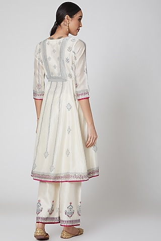 White Embroidered Kurta Set by Leela By A