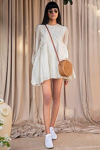White Short Shift Dress by Labbada By Charu Anand