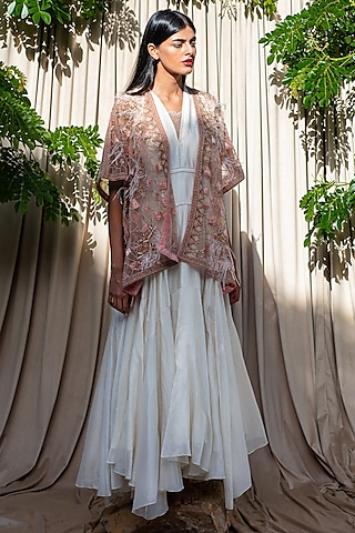 White Hand Embroidered Anarkali Set by Labbada By Charu Anand