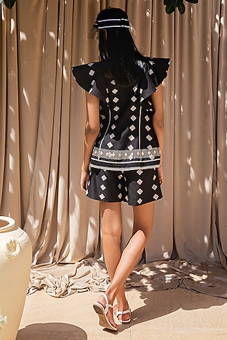 Black Hand Embroidered Top With Shorts by Labbada By Charu Anand