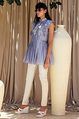 Powder Blue Hand Embroidered Top by Labbada By Charu Anand