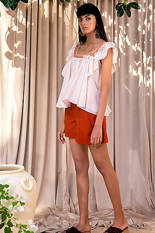 Ivory Top With Shorts by Labbada By Charu Anand