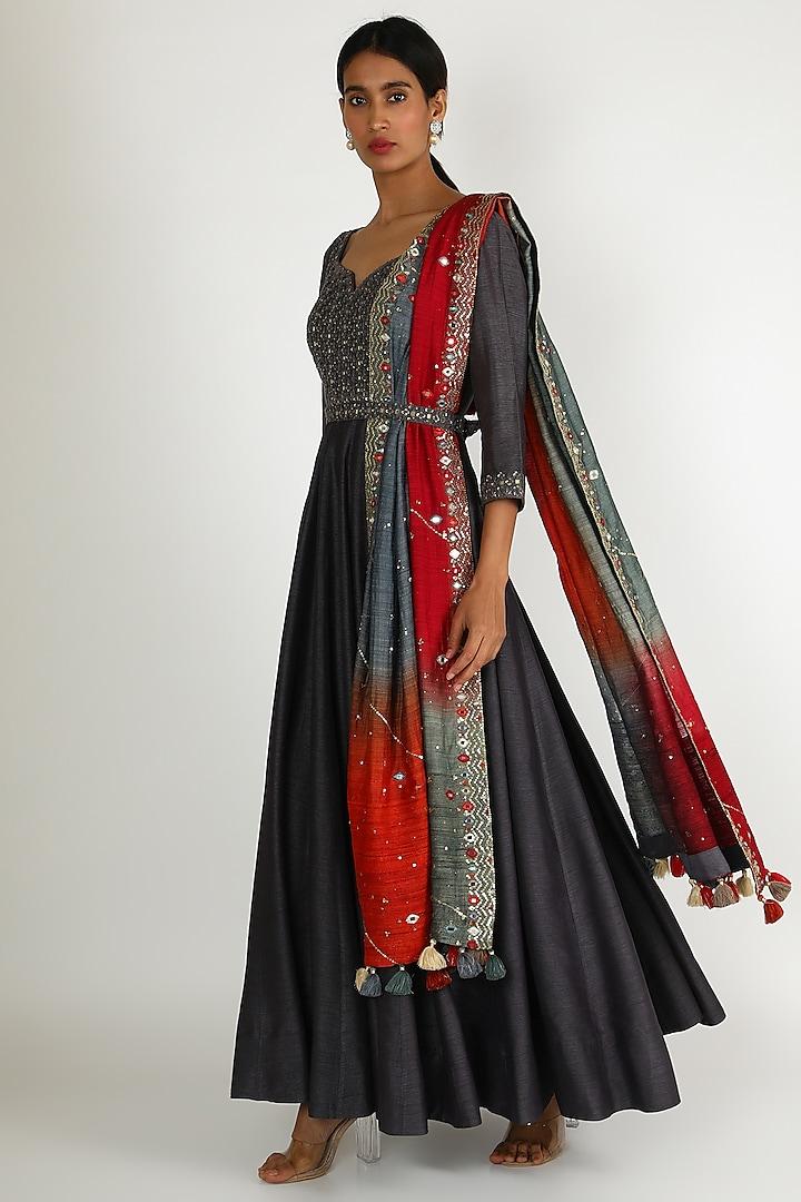 Grey Embroidered Anarkali Set by Loka By Veerali Raveshia