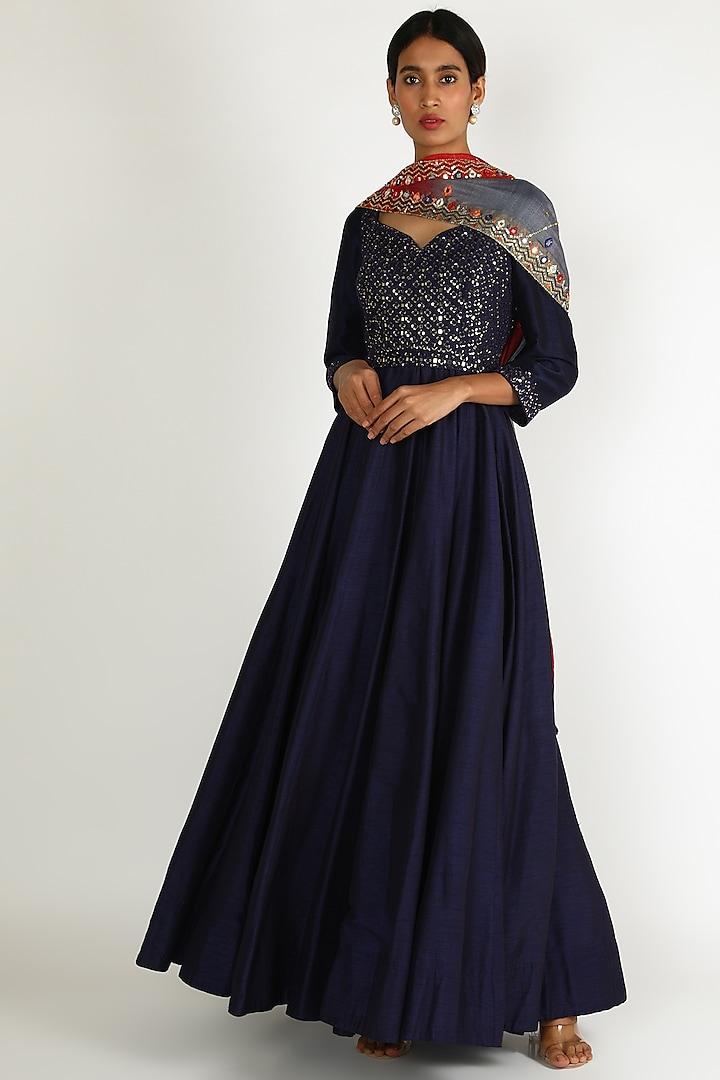 Cobalt Blue Embroidered Anarkali Set by Loka By Veerali Raveshia