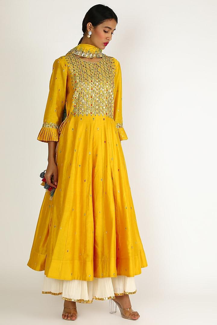 Mango Yellow Embroidered Sharara Set by Loka By Veerali Raveshia