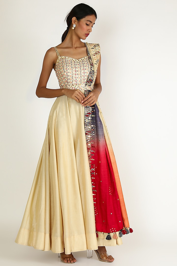 Ivory Embroidered Floor Length Dress by Loka By Veerali Raveshia