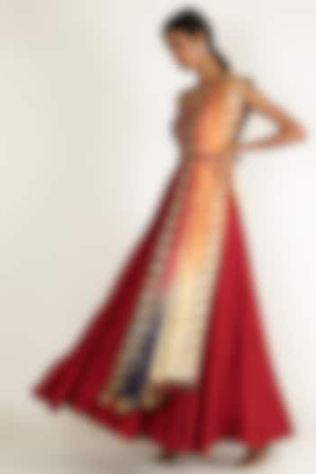 Red Embroidered Floor Length Dress by Loka By Veerali Raveshia
