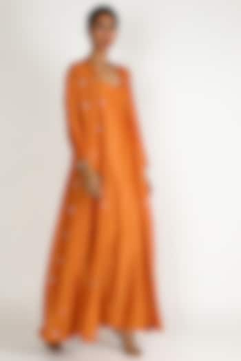 Orange Embroidered Tunic Set by Loka By Veerali Raveshia
