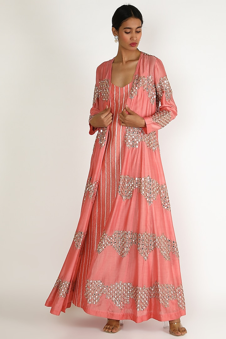 Blush Pink Embroidered Tunic Set by Loka By Veerali Raveshia
