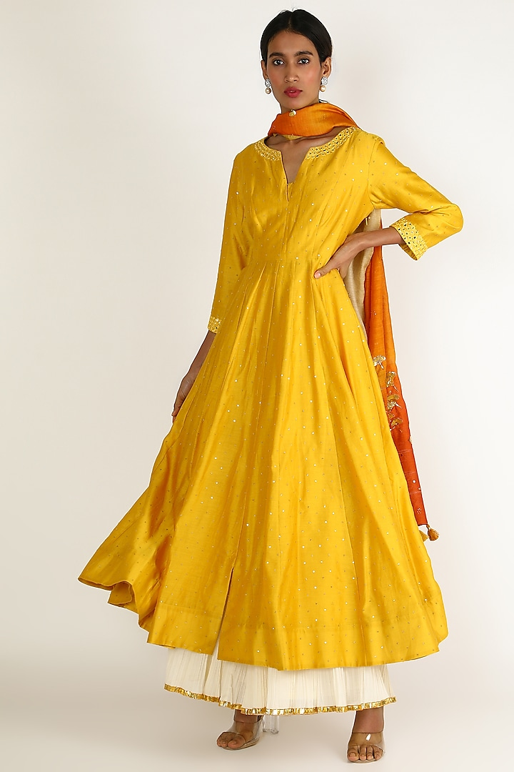 Yellow Sequins Embroidered Sharara Set by Loka By Veerali Raveshia