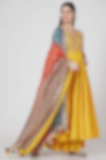 Mango Yellow Sequins Anarkali Set by Loka By Veerali Raveshia