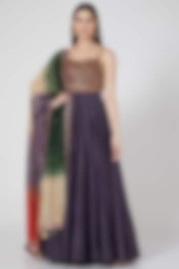 Purple Anarkali Set With Belt by Loka By Veerali Raveshia