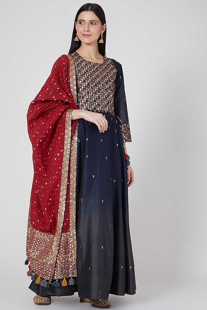 Midnight Blue & Grey Ombre Embroidered Anarkali With Dupatta  by Loka By Veerali Raveshia