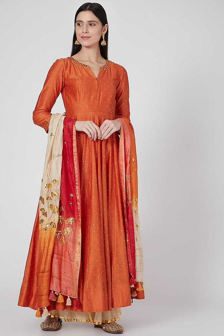 Orange Classic Kalidar Kurta Set by Loka By Veerali Raveshia
