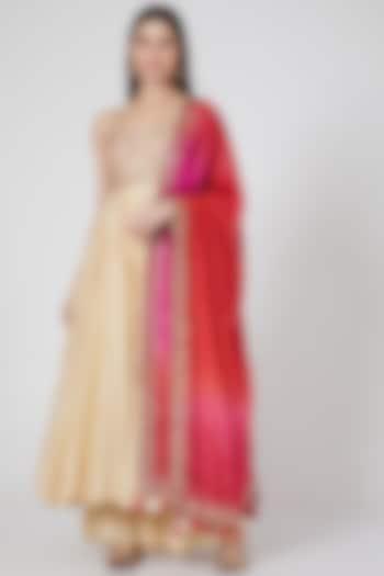 Ivory Chanderi Silk Anarkali Set by Loka By Veerali Raveshia