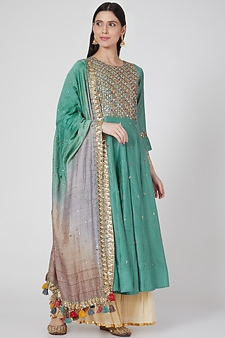 Turquoise Embroidered Kalidar Kurta Set by Loka By Veerali Raveshia