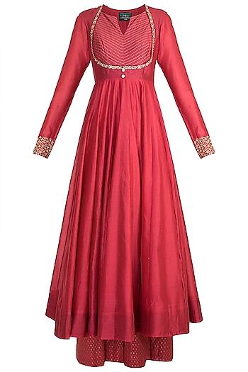 Red Embroidered Anarkali Set by LOKA By Veerali Raveshia