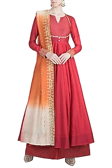 Red Embroidered Anarkali Set by LOKA By Veerali Raveshia
