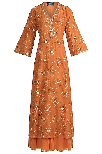 Orange Embroidered Sharara Set by LOKA By Veerali Raveshia