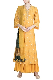 Yellow Embroidered Sharara Set by LOKA By Veerali Raveshia