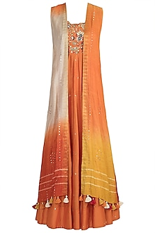 Orange Embroidered Gown With Shaded Cape by LOKA By Veerali Raveshia