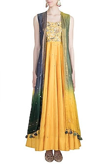 Yellow Embroidered Gown With Shaded Cape by LOKA By Veerali Raveshia