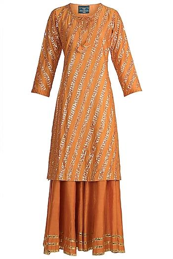 Orange Gota Embroidered Sharara Set by LOKA By Veerali Raveshia