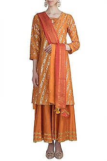 Orange Gota Embroidered Sharara Set by LOKA By Veerali Raveshia