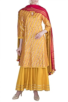 Orange Gota Patti Embroidered Sharara Set by LOKA By Veerali Raveshia