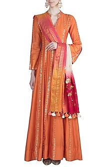 Orange Hand Embroidered Sharara Set by LOKA By Veerali Raveshia