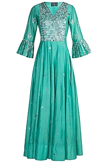 Aqua Blue Embroidered Anarkali With Dupatta by LOKA By Veerali Raveshia