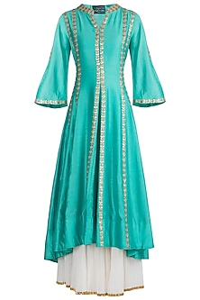 Aqua Blue Embroidered Sharara Set by LOKA By Veerali Raveshia