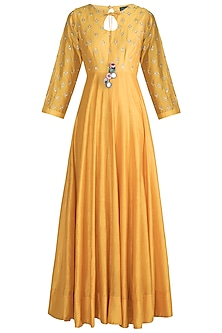 Mango Yellow Embroidered Anarkali With Dupatta by LOKA By Veerali Raveshia