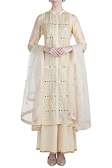 Ivory Embroidered Sharara Set by LOKA By Veerali Raveshia