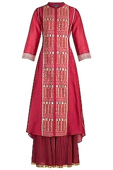 Red Embroidered Sharara Set by LOKA By Veerali Raveshia
