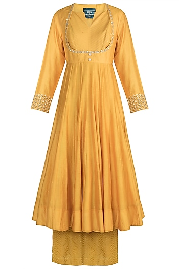 Mango Yellow Zardosi Embroidered Anarkali Set by LOKA By Veerali Raveshia