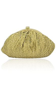Gold beads embellished pouch by Lovetobag
