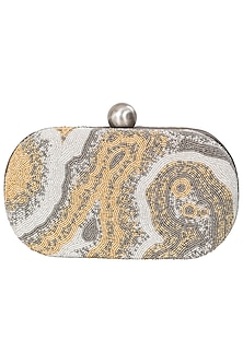 Silver and Golden Japanese Glass Beads Embroidered Clutch by Lovetobag