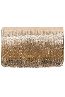 Gold Beads Embroidered Flapover Clutch by Lovetobag