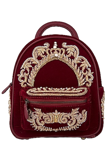 Berry Red Embroidered Bag Pack by Lovetobag
