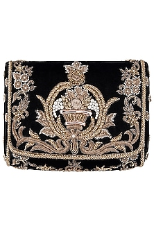 Black Zardozi Embroidered Flapover Clutch by Lovetobag
