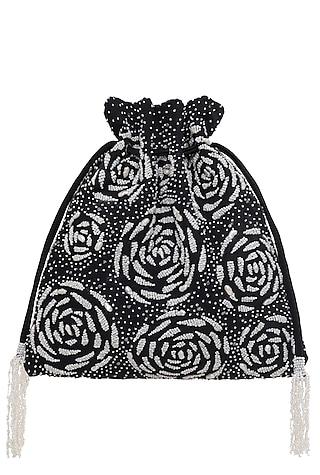 Black Embroidered Perla Potli Bag by Lovetobag