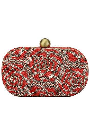 Red Embroidered Rosette Oval Box Clutch by Lovetobag